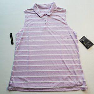 Nike Womens Sleeveless Dri-Fit Striped Polo Lavend